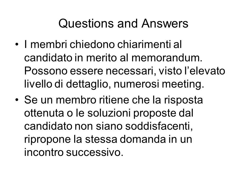 Questions and Answers I membri chiedono chiarimenti al candidato in merito al memorandum. Possono essere necessari, visto lelevato livello di dettagli