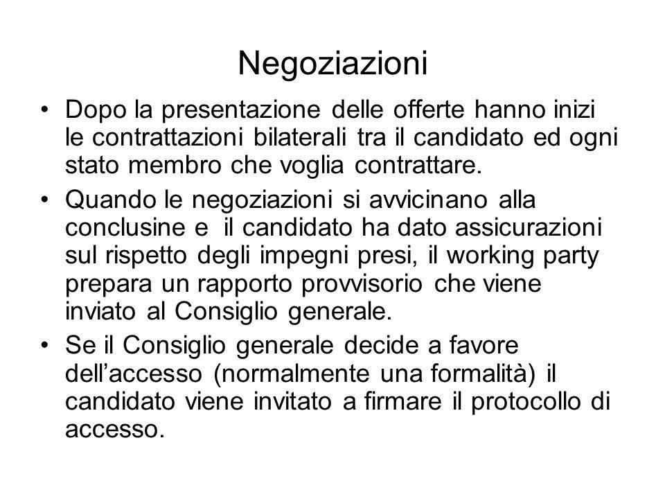 Negoziazioni Dopo la presentazione delle offerte hanno inizi le contrattazioni bilaterali tra il candidato ed ogni stato membro che voglia contrattare