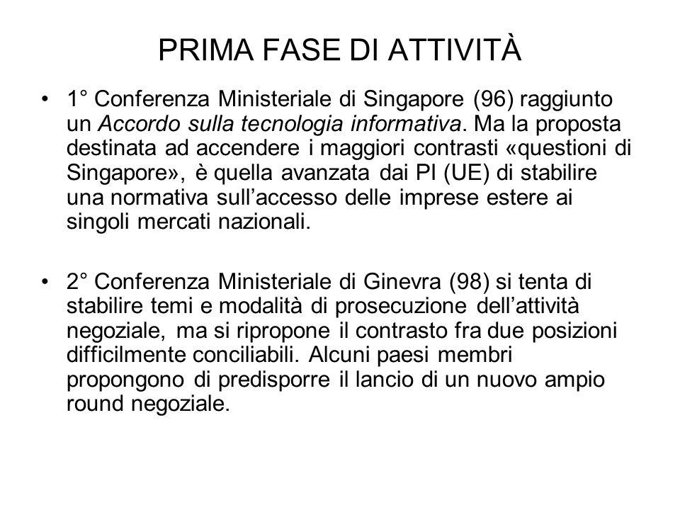 PRIMA FASE DI ATTIVITÀ 1° Conferenza Ministeriale di Singapore (96) raggiunto un Accordo sulla tecnologia informativa. Ma la proposta destinata ad acc