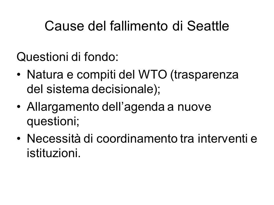 Cause del fallimento di Seattle Questioni di fondo: Natura e compiti del WTO (trasparenza del sistema decisionale); Allargamento dellagenda a nuove qu