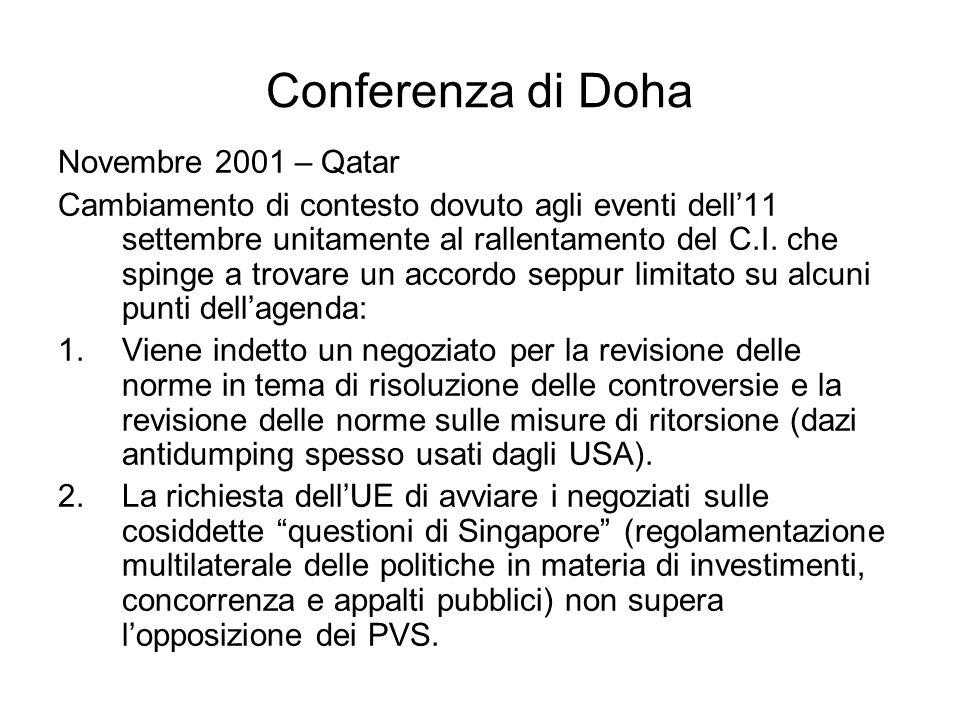 Conferenza di Doha Novembre 2001 – Qatar Cambiamento di contesto dovuto agli eventi dell11 settembre unitamente al rallentamento del C.I. che spinge a