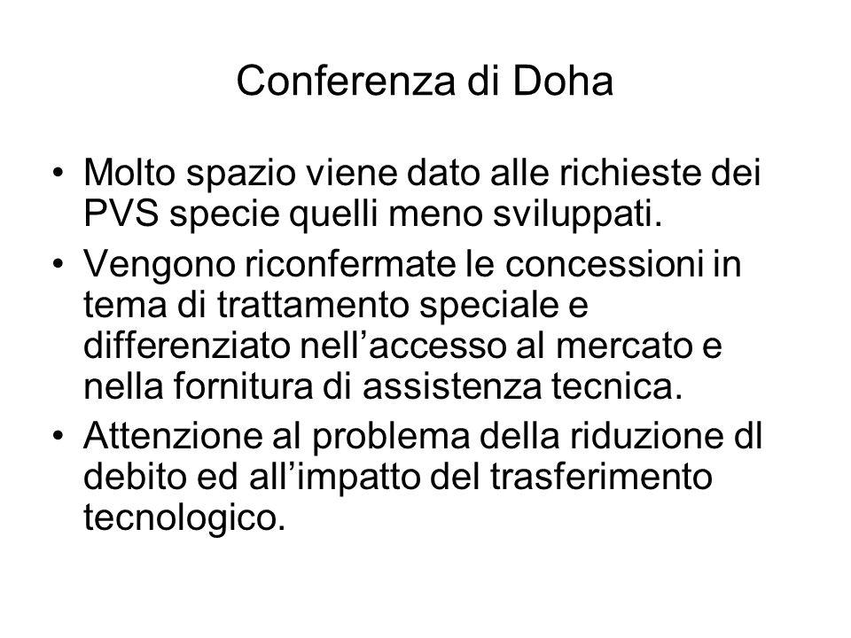 Conferenza di Doha Molto spazio viene dato alle richieste dei PVS specie quelli meno sviluppati. Vengono riconfermate le concessioni in tema di tratta