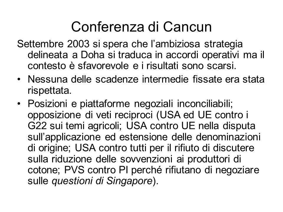 Conferenza di Cancun Settembre 2003 si spera che lambiziosa strategia delineata a Doha si traduca in accordi operativi ma il contesto è sfavorevole e