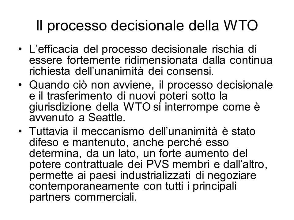 Il processo decisionale della WTO Lefficacia del processo decisionale rischia di essere fortemente ridimensionata dalla continua richiesta dellunanimi