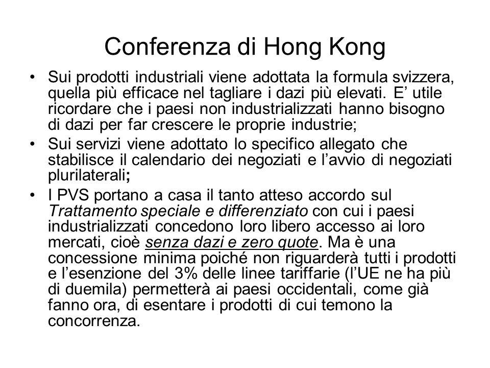 Conferenza di Hong Kong Sui prodotti industriali viene adottata la formula svizzera, quella più efficace nel tagliare i dazi più elevati. E utile rico