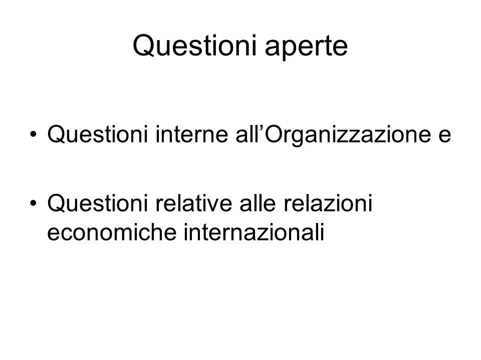 Questioni aperte Questioni interne allOrganizzazione e Questioni relative alle relazioni economiche internazionali