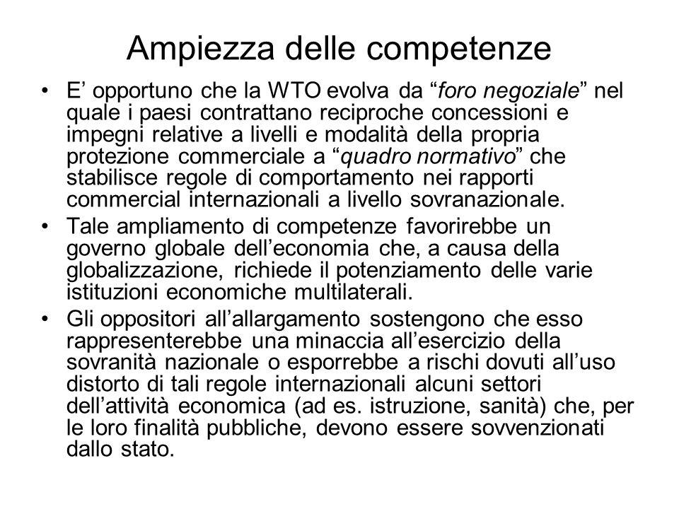 Ampiezza delle competenze E opportuno che la WTO evolva da foro negoziale nel quale i paesi contrattano reciproche concessioni e impegni relative a li