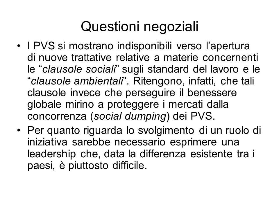 Questioni negoziali I PVS si mostrano indisponibili verso lapertura di nuove trattative relative a materie concernenti le clausole sociali sugli stand
