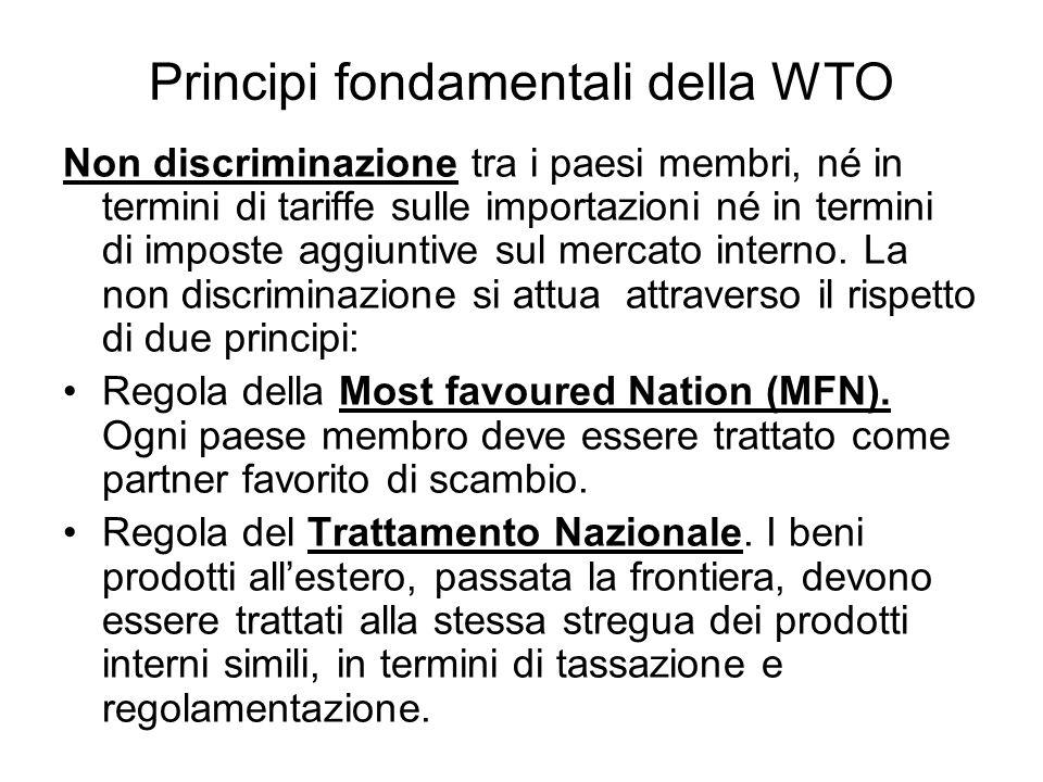 Principi fondamentali della WTO Non discriminazione tra i paesi membri, né in termini di tariffe sulle importazioni né in termini di imposte aggiuntiv