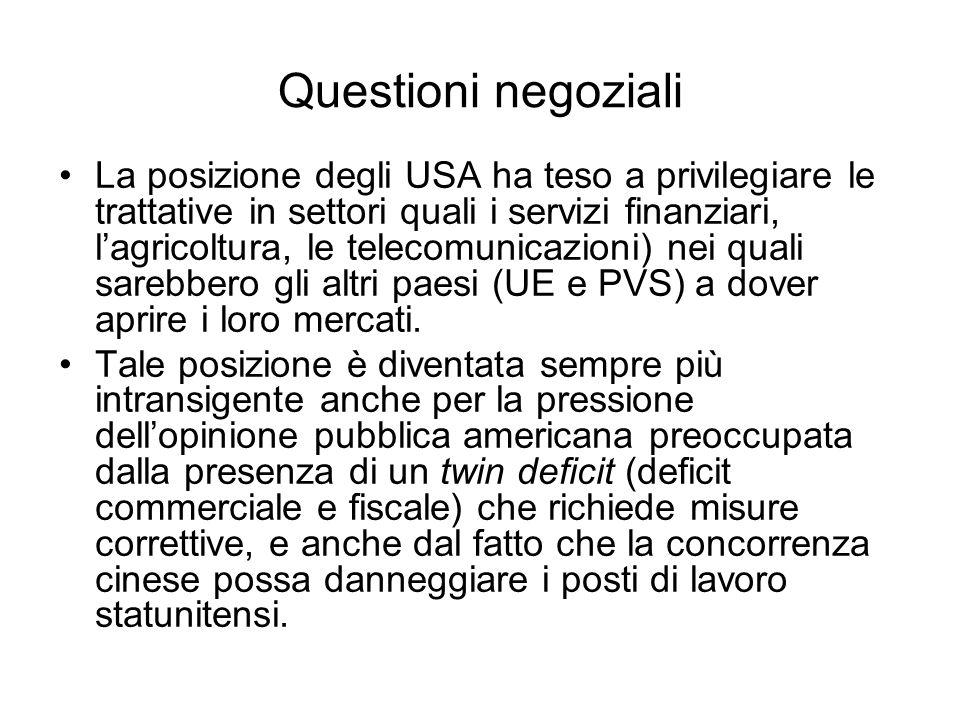 Questioni negoziali La posizione degli USA ha teso a privilegiare le trattative in settori quali i servizi finanziari, lagricoltura, le telecomunicazi