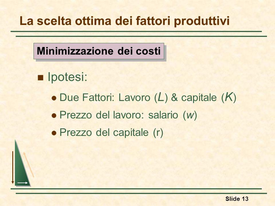 Slide 13 La scelta ottima dei fattori produttivi Ipotesi: Due Fattori: Lavoro ( L ) & capitale ( K ) Prezzo del lavoro: salario (w) Prezzo del capital