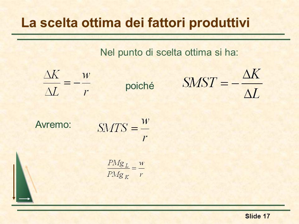 Slide 17 La scelta ottima dei fattori produttivi Nel punto di scelta ottima si ha: poiché Avremo: