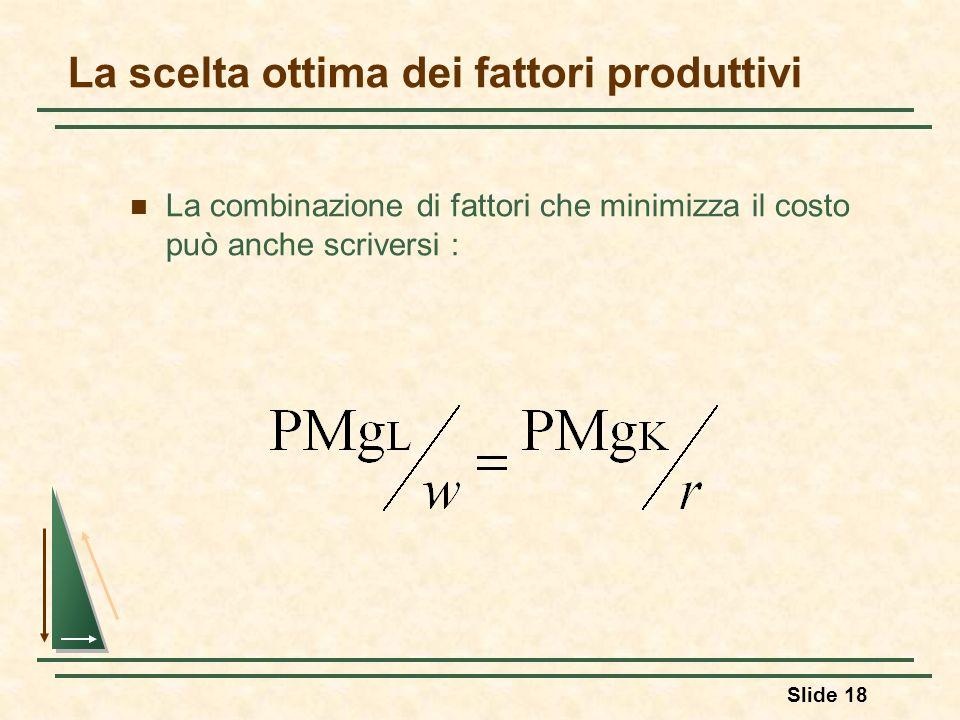 Slide 18 La scelta ottima dei fattori produttivi La combinazione di fattori che minimizza il costo può anche scriversi :