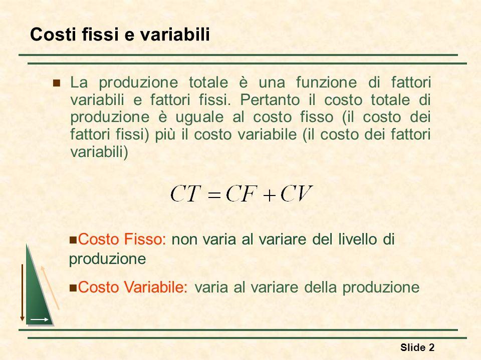 Slide 2 La produzione totale è una funzione di fattori variabili e fattori fissi. Pertanto il costo totale di produzione è uguale al costo fisso (il c