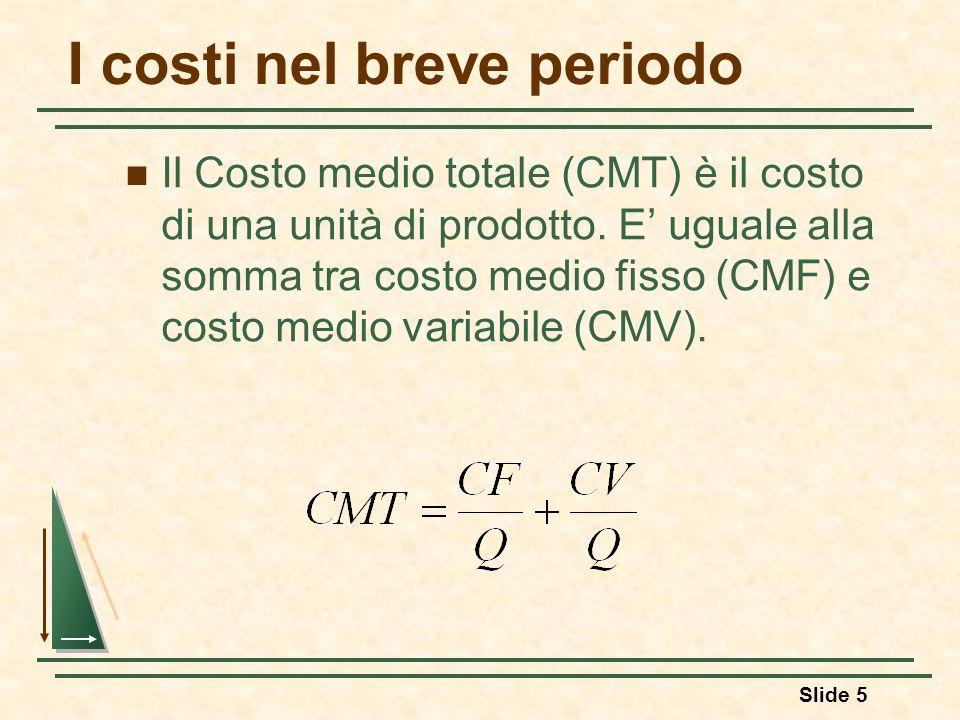 Slide 5 I costi nel breve periodo Il Costo medio totale (CMT) è il costo di una unità di prodotto. E uguale alla somma tra costo medio fisso (CMF) e c
