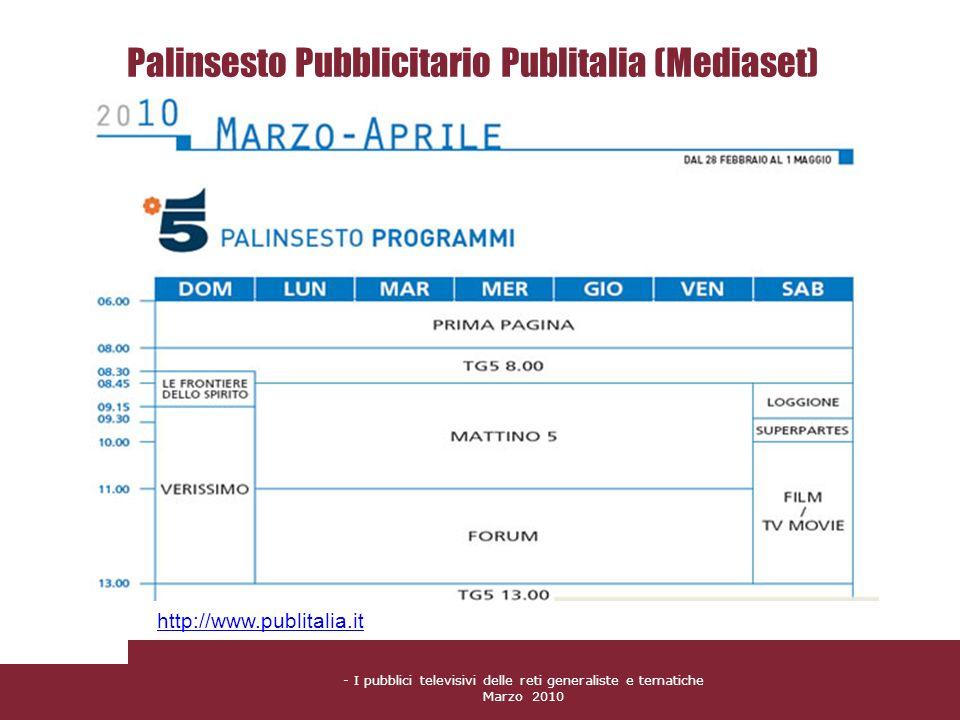 - I pubblici televisivi delle reti generaliste e tematiche Marzo 2010 Palinsesto Pubblicitario Publitalia (Mediaset) http://www.publitalia.it