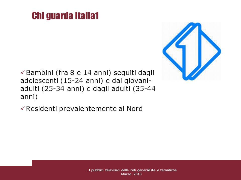 - I pubblici televisivi delle reti generaliste e tematiche Marzo 2010 Chi guarda Italia1 Bambini (fra 8 e 14 anni) seguiti dagli adolescenti (15-24 an