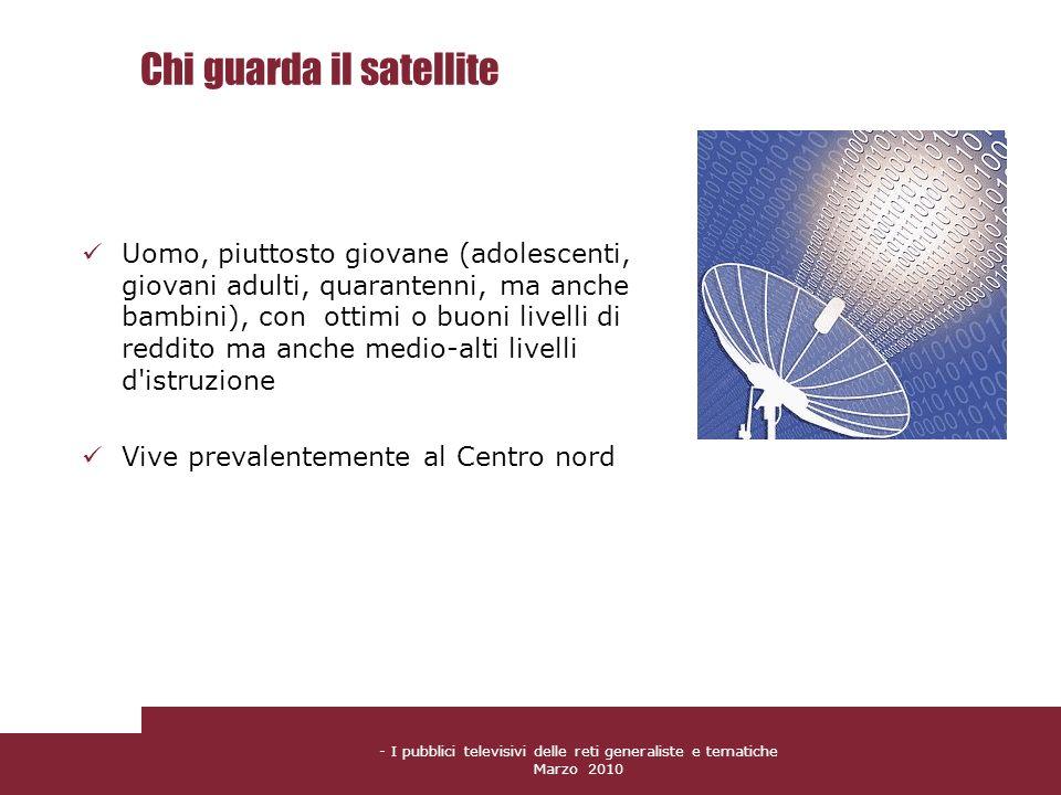 - I pubblici televisivi delle reti generaliste e tematiche Marzo 2010 Chi guarda il satellite Uomo, piuttosto giovane (adolescenti, giovani adulti, qu
