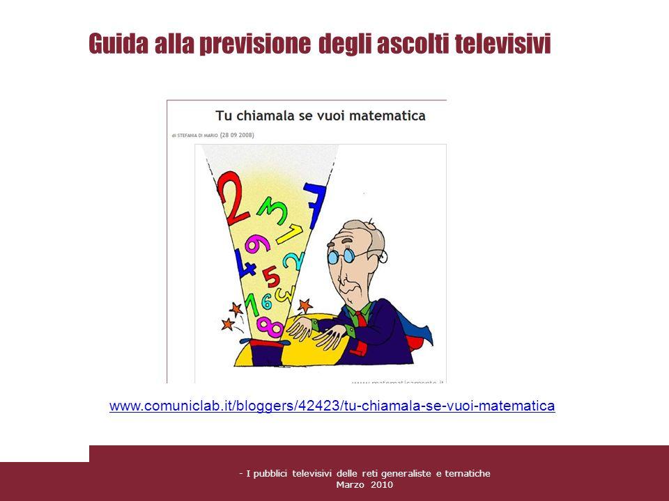 - I pubblici televisivi delle reti generaliste e tematiche Marzo 2010 Guida alla previsione degli ascolti televisivi www.comuniclab.it/bloggers/42423/