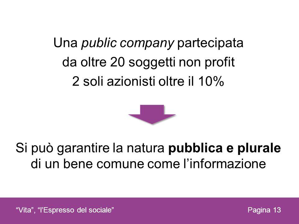 Una public company partecipata da oltre 20 soggetti non profit 2 soli azionisti oltre il 10% Si può garantire la natura pubblica e plurale di un bene