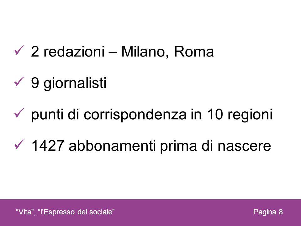 2 redazioni – Milano, Roma 9 giornalisti punti di corrispondenza in 10 regioni 1427 abbonamenti prima di nascere Vita, lEspresso del socialePagina 8