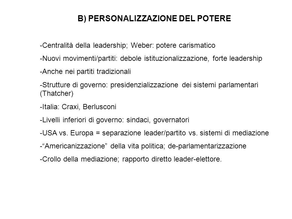 B) PERSONALIZZAZIONE DEL POTERE - Centralità della leadership; Weber: potere carismatico - Nuovi movimenti/partiti: debole istituzionalizzazione, fort