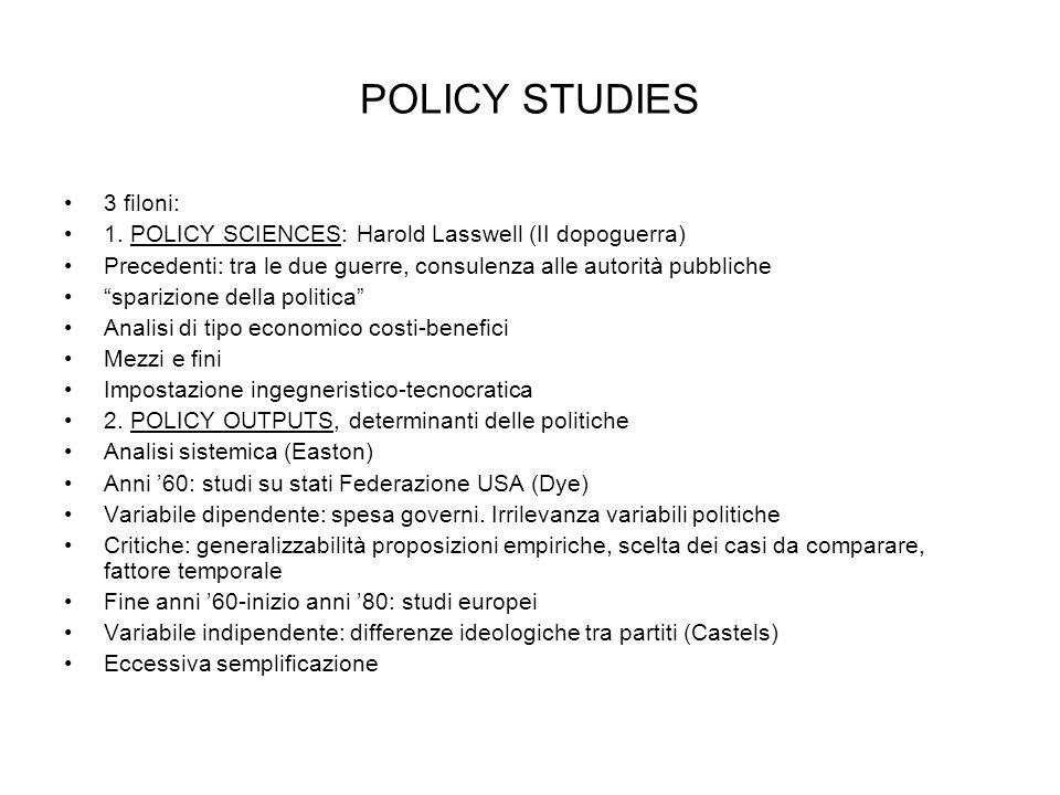POLICY STUDIES 3 filoni: 1. POLICY SCIENCES: Harold Lasswell (II dopoguerra) Precedenti: tra le due guerre, consulenza alle autorità pubbliche sparizi