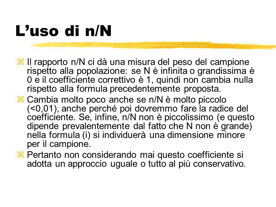 Luso di n/N zIl rapporto n/N ci dà una misura del peso del campione rispetto alla popolazione: se N è infinita o grandissima è 0 e il coefficiente correttivo è 1, quindi non cambia nulla rispetto alla formula precedentemente proposta.
