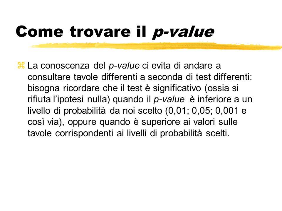 Come trovare il p-value zLa conoscenza del p-value ci evita di andare a consultare tavole differenti a seconda di test differenti: bisogna ricordare che il test è significativo (ossia si rifiuta lipotesi nulla) quando il p-value è inferiore a un livello di probabilità da noi scelto (0,01; 0,05; 0,001 e così via), oppure quando è superiore ai valori sulle tavole corrispondenti ai livelli di probabilità scelti.