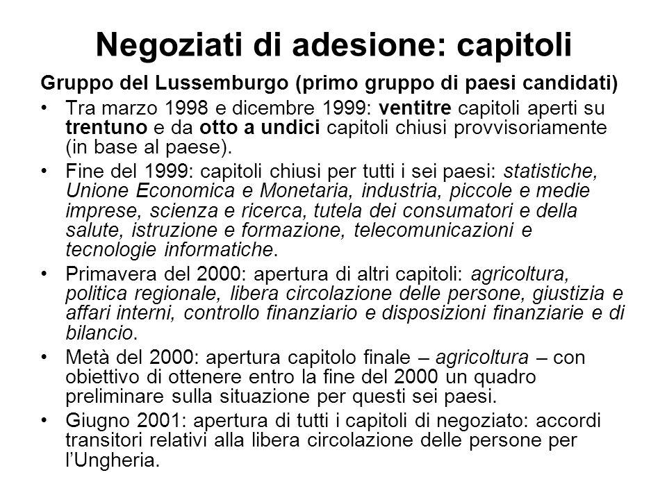 Negoziati di adesione: capitoli Gruppo del Lussemburgo (primo gruppo di paesi candidati) Tra marzo 1998 e dicembre 1999: ventitre capitoli aperti su trentuno e da otto a undici capitoli chiusi provvisoriamente (in base al paese).