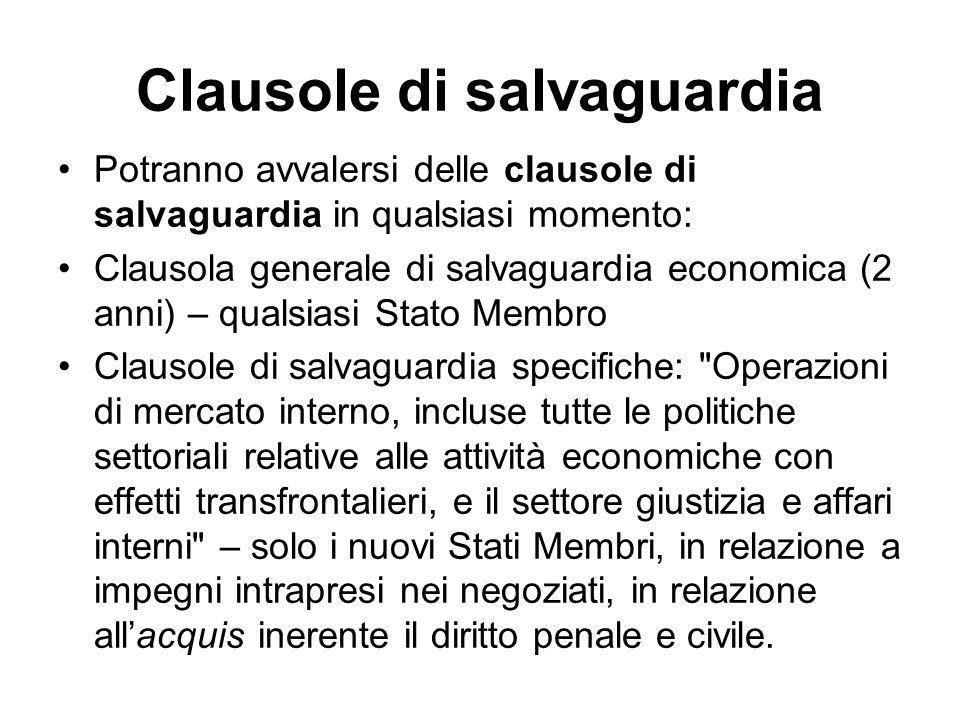Clausole di salvaguardia Potranno avvalersi delle clausole di salvaguardia in qualsiasi momento: Clausola generale di salvaguardia economica (2 anni)