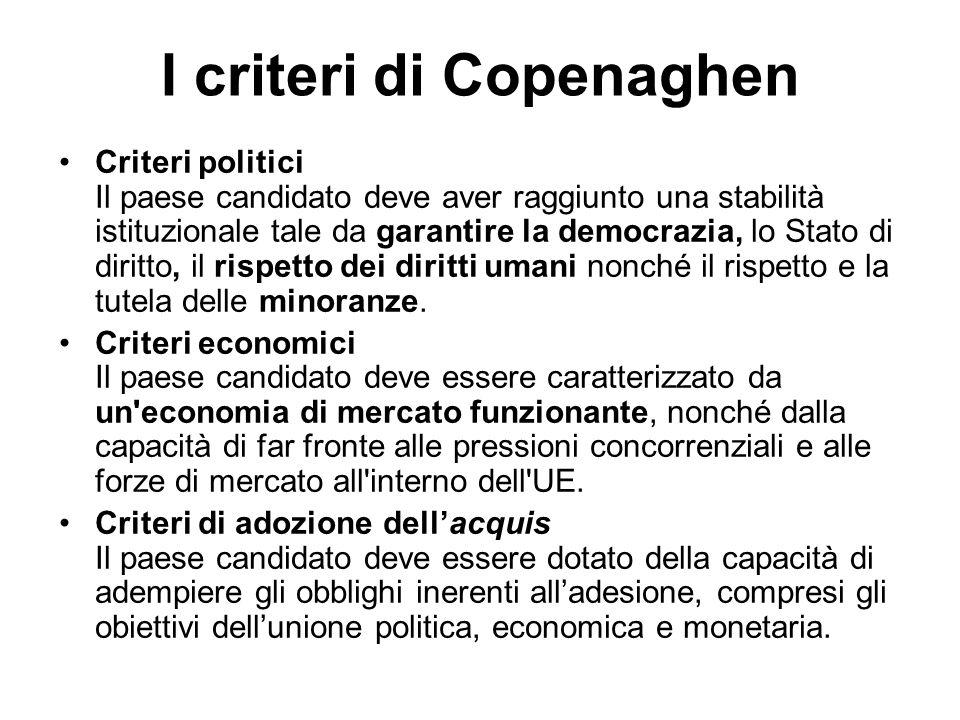 I criteri di Copenaghen Criteri politici Il paese candidato deve aver raggiunto una stabilità istituzionale tale da garantire la democrazia, lo Stato di diritto, il rispetto dei diritti umani nonché il rispetto e la tutela delle minoranze.