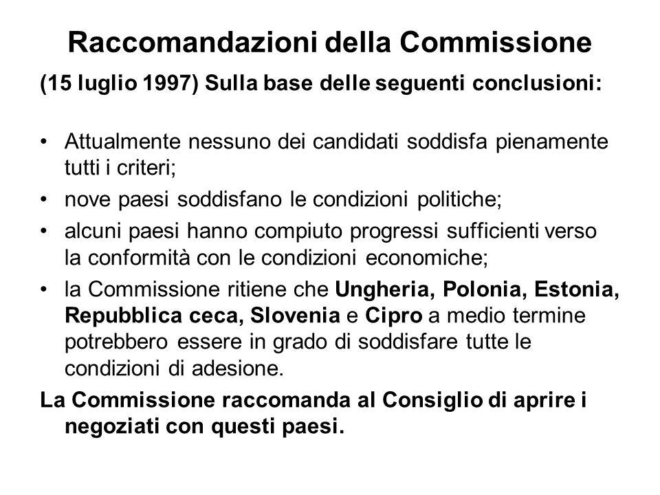 Raccomandazioni della Commissione (15 luglio 1997) Sulla base delle seguenti conclusioni: Attualmente nessuno dei candidati soddisfa pienamente tutti