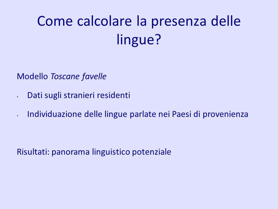 Come calcolare la presenza delle lingue? Modello Toscane favelle Dati sugli stranieri residenti Individuazione delle lingue parlate nei Paesi di prove