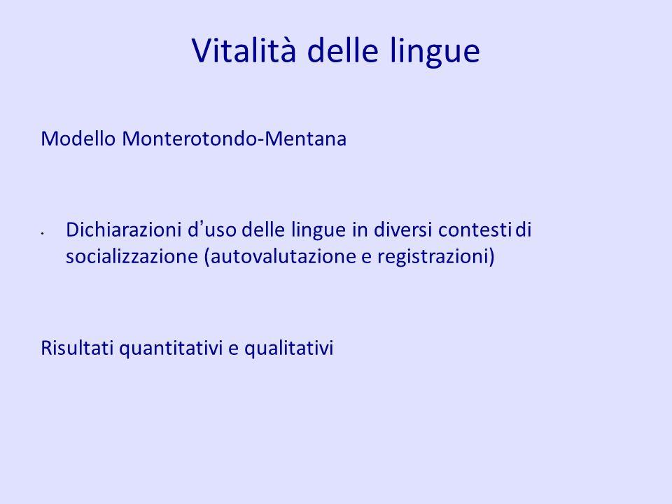 Vitalità delle lingue Modello Monterotondo-Mentana Dichiarazioni d uso delle lingue in diversi contesti di socializzazione (autovalutazione e registra