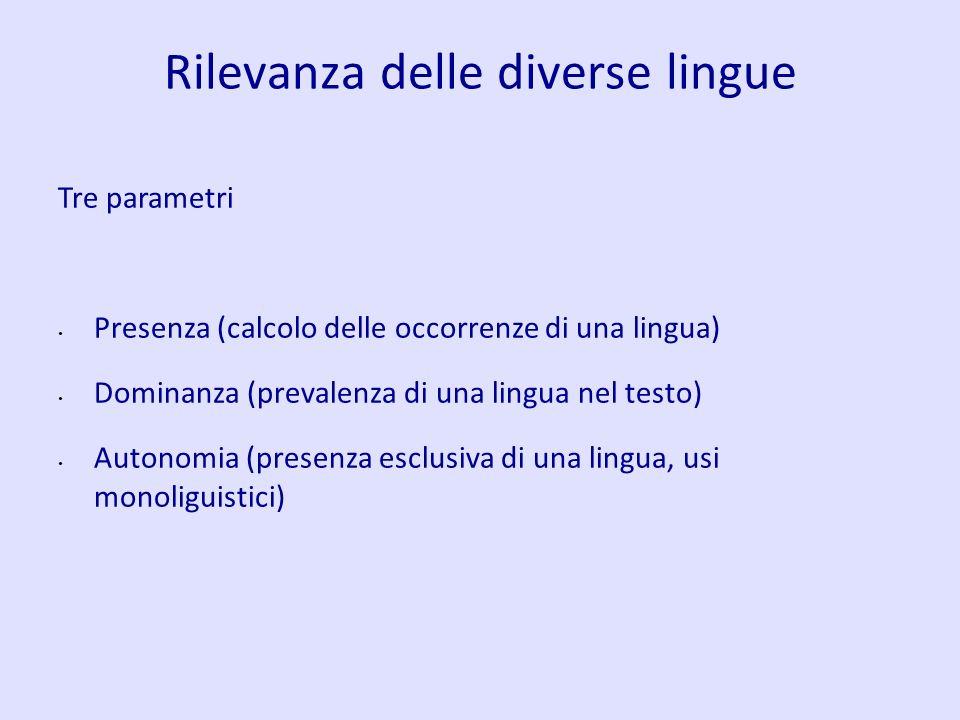 Rilevanza delle diverse lingue Tre parametri Presenza (calcolo delle occorrenze di una lingua) Dominanza (prevalenza di una lingua nel testo) Autonomi