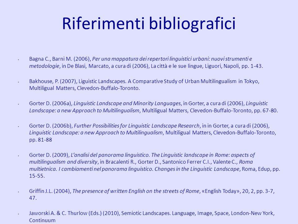 Riferimenti bibliografici Bagna C., Barni M. (2006), Per una mappatura dei repertori linguistici urbani: nuovi strumenti e metodologie, in De Blasi, M
