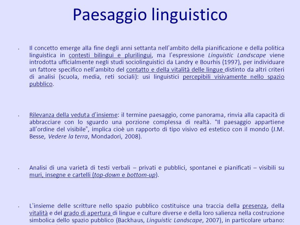 Paesaggio linguistico Il concetto emerge alla fine degli anni settanta nell ambito della pianificazione e della politica linguistica in contesti bilin