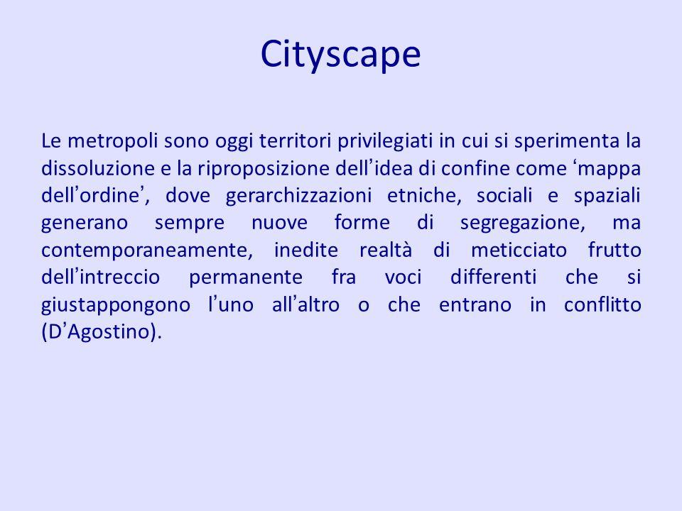 Cityscape Le metropoli sono oggi territori privilegiati in cui si sperimenta la dissoluzione e la riproposizione dell idea di confine come mappa dell