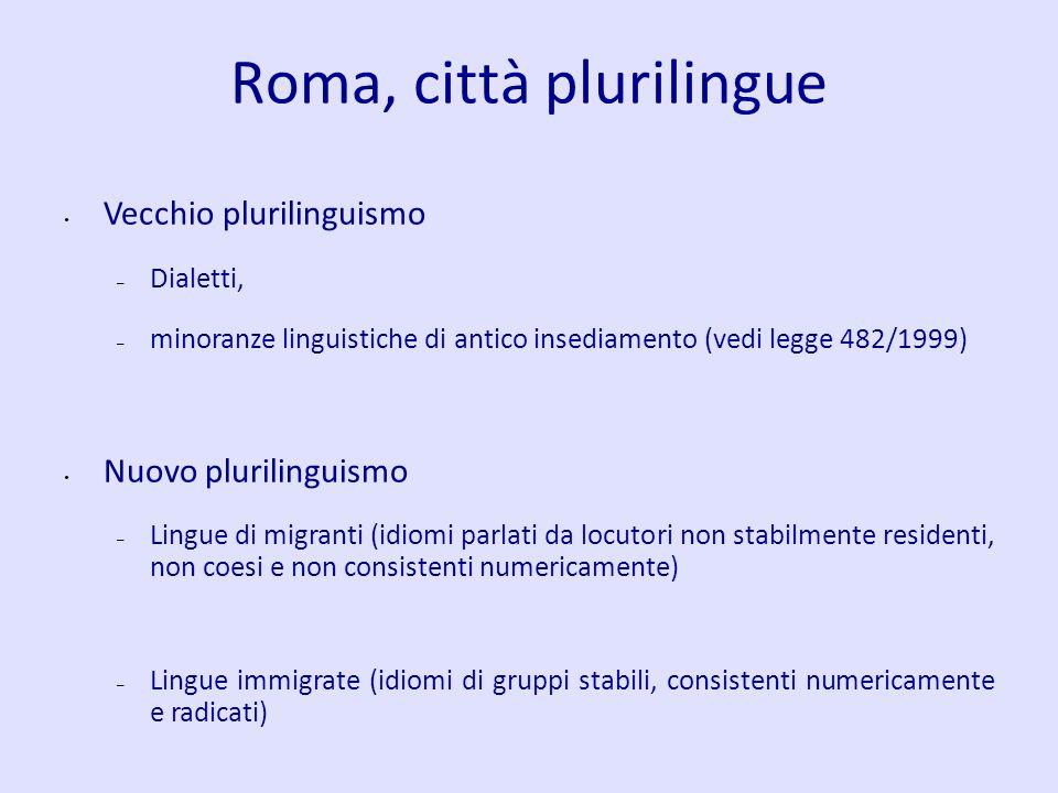 Roma, città plurilingue Vecchio plurilinguismo – Dialetti, – minoranze linguistiche di antico insediamento (vedi legge 482/1999) Nuovo plurilinguismo