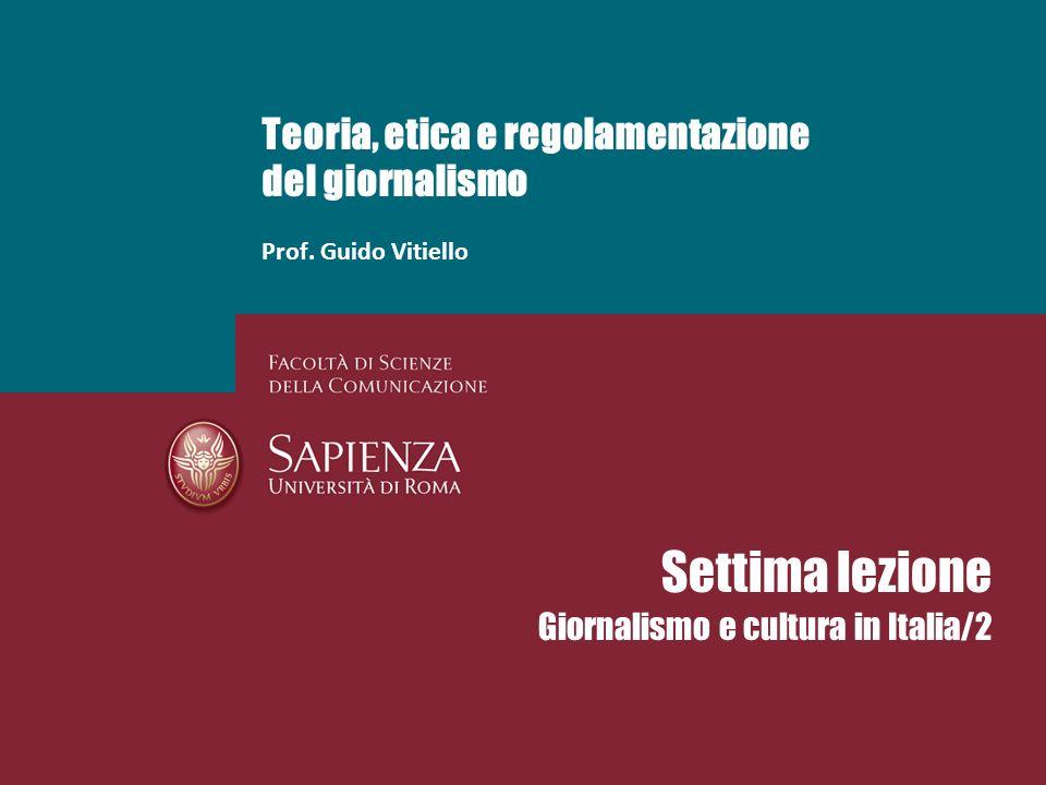 Teoria, etica e regolamentazione del giornalismo Prof.