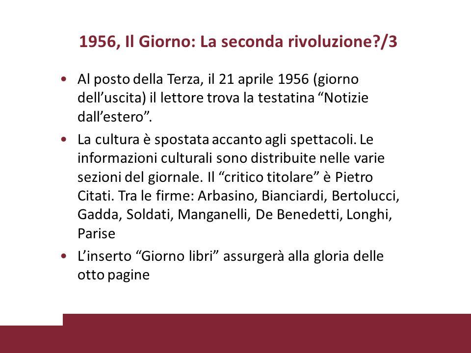 1956, Il Giorno: La seconda rivoluzione /3 Al posto della Terza, il 21 aprile 1956 (giorno delluscita) il lettore trova la testatina Notizie dallestero.