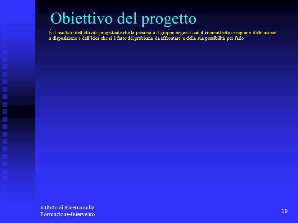 Istituto di Ricerca sulla Formazione-Intervento 10 Obiettivo del progetto È il risultato dellattività progettuale che la persona o il gruppo negozia c