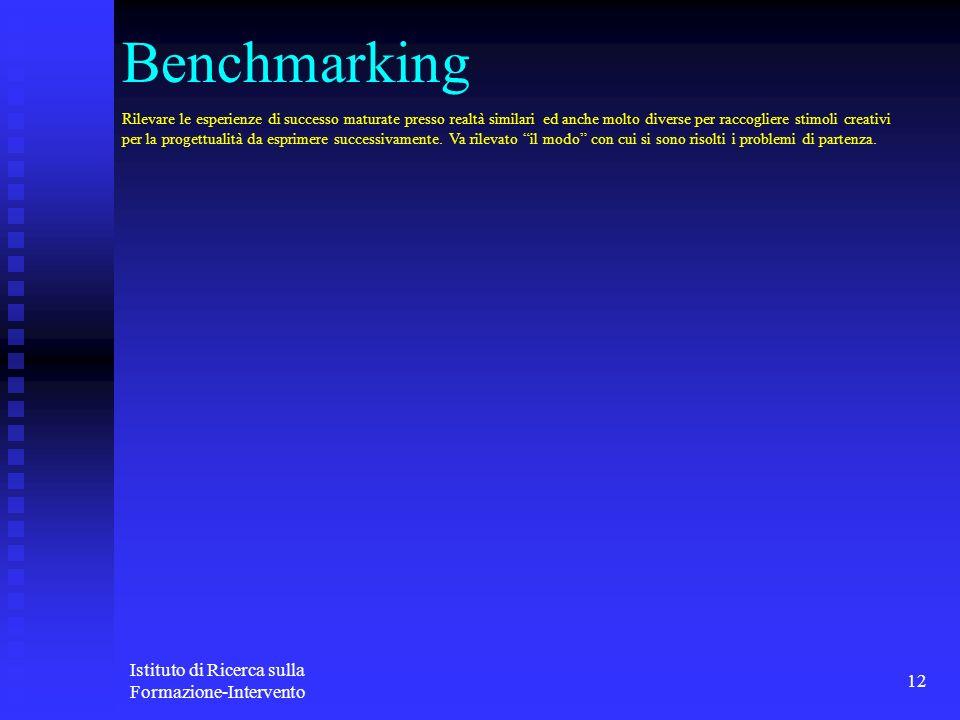 Istituto di Ricerca sulla Formazione-Intervento 12 Benchmarking Rilevare le esperienze di successo maturate presso realtà similari ed anche molto dive