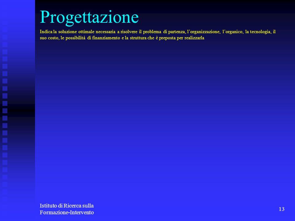 Istituto di Ricerca sulla Formazione-Intervento 13 Progettazione Indica la soluzione ottimale necessaria a risolvere il problema di partenza, lorganiz