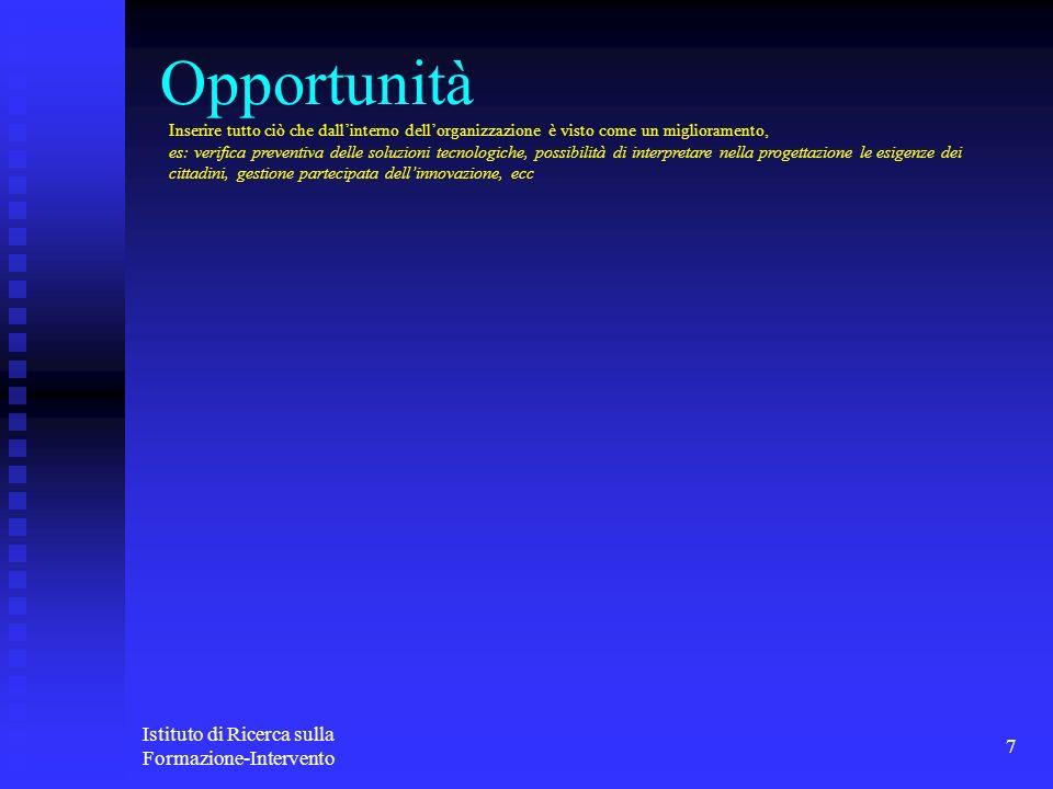 Istituto di Ricerca sulla Formazione-Intervento 7 Opportunità Inserire tutto ciò che dallinterno dellorganizzazione è visto come un miglioramento, es: