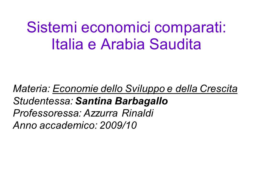 Sistemi economici comparati: Italia e Arabia Saudita Materia: Economie dello Sviluppo e della Crescita Studentessa: Santina Barbagallo Professoressa: