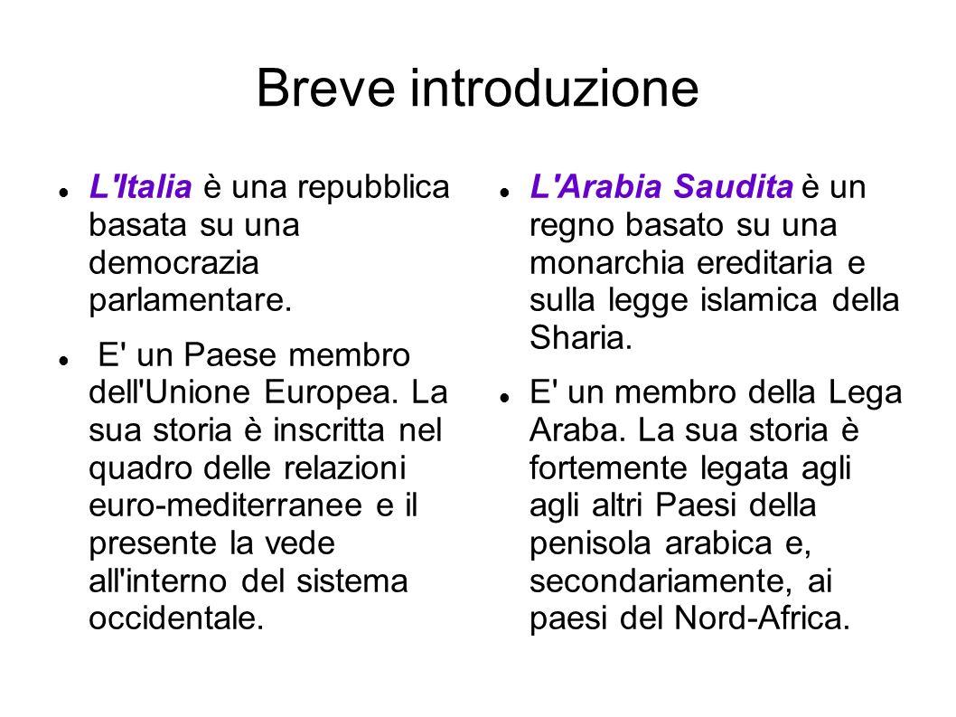 Breve introduzione L'Italia è una repubblica basata su una democrazia parlamentare. E' un Paese membro dell'Unione Europea. La sua storia è inscritta