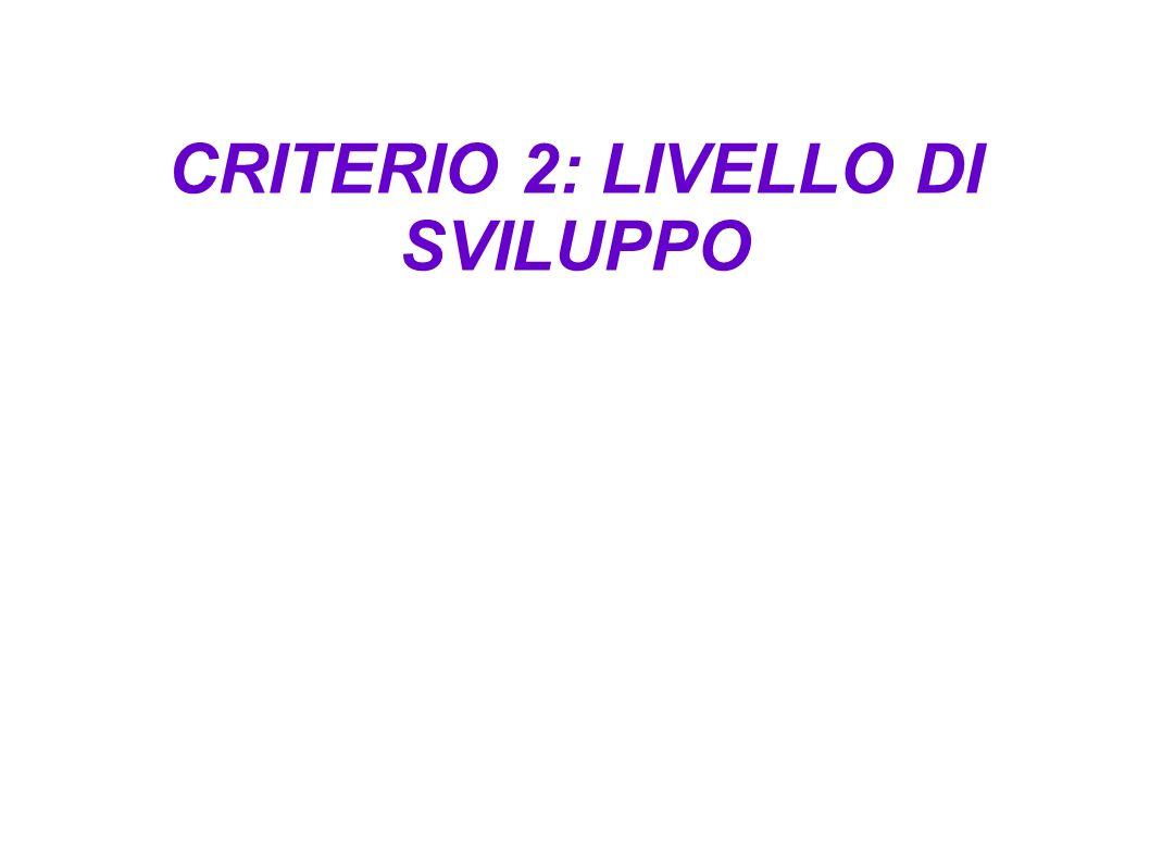 CRITERIO 2: LIVELLO DI SVILUPPO