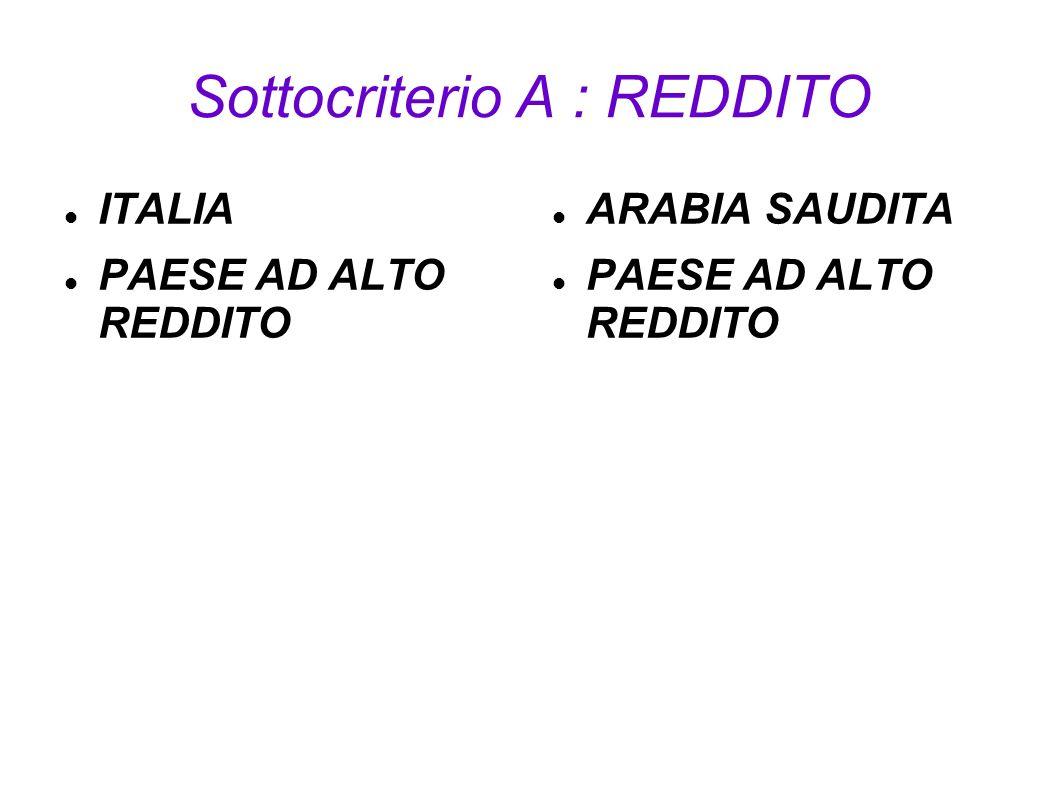 Sottocriterio A : REDDITO ITALIA PAESE AD ALTO REDDITO ARABIA SAUDITA PAESE AD ALTO REDDITO